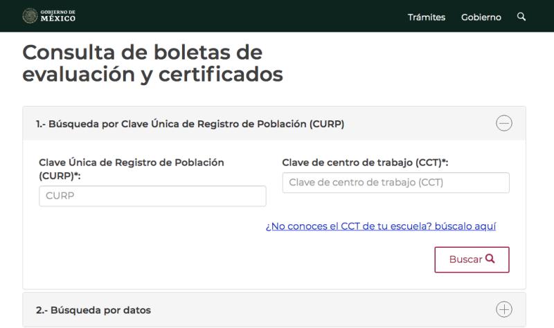 Para obtener la boleta o certificado digital es necesario el CURP del alumno.