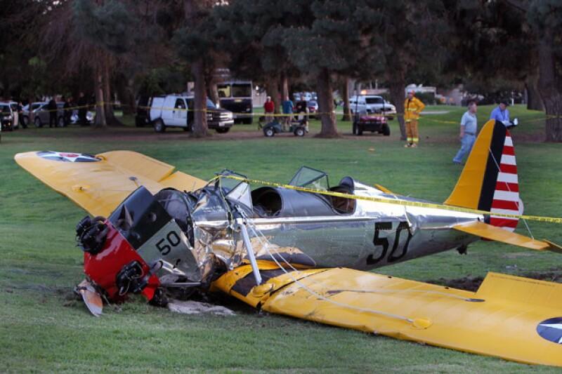 Así quedó el avión de Harrison Ford tras el accidente.