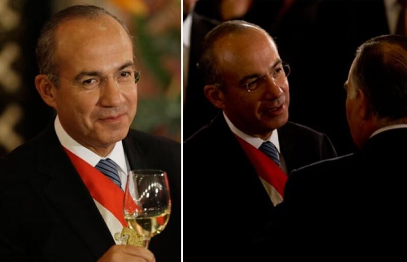 Diplomáticos y empresarios; mexicanos y extranjeros, dieron cita en Palacio Nacional para la última cena del sexenio 2006-2012.