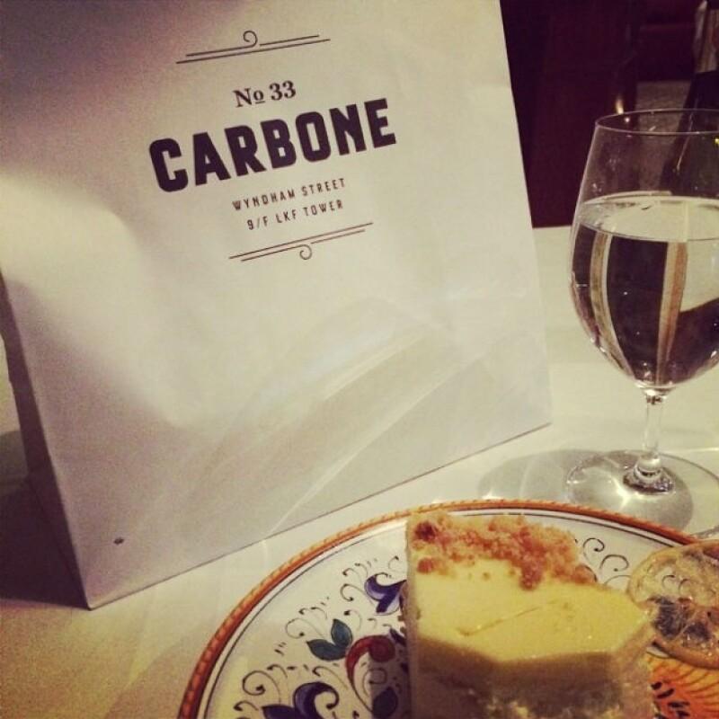"""Ana compartió esta foto desde """"Carbone"""", el restaurante de su novio en Hong Kong."""