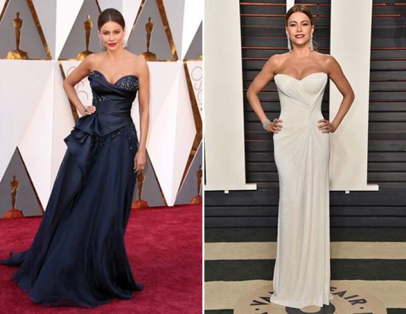 De Marchesa a Mark  Zunino, Sofía Vergara regresó a su estilo de Sexy Siren para la fiesta de Vanity Fair.