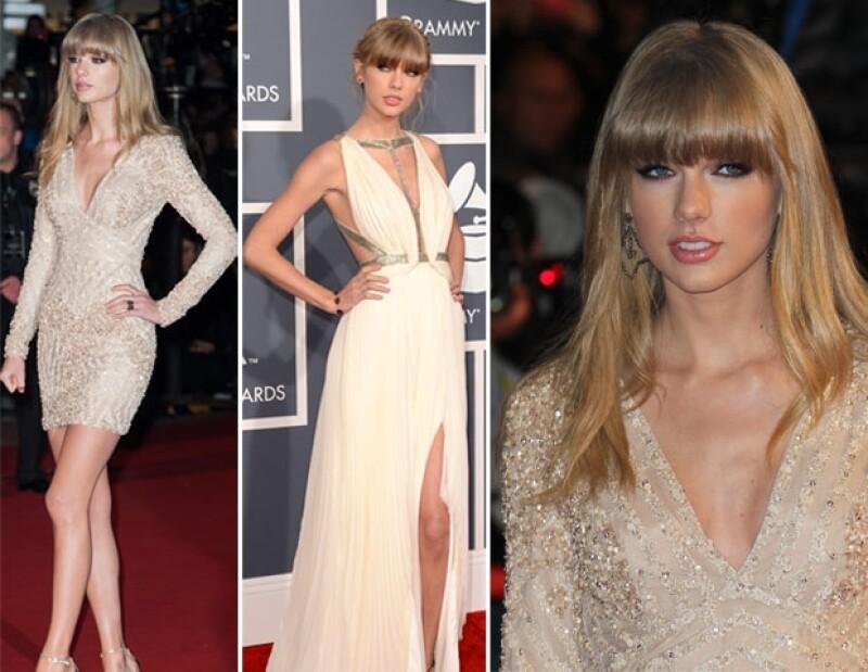 Extremos: el vestido Elie Saab que usó para Cannes. Centro: premios Grammy 2013, ceremonia que abrió la cantante con una espectacular presentación.