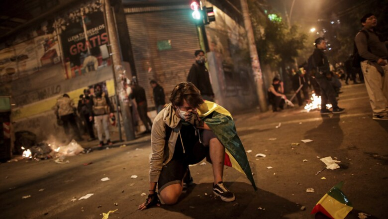 A demonstrator takes part in a protest in La Paz