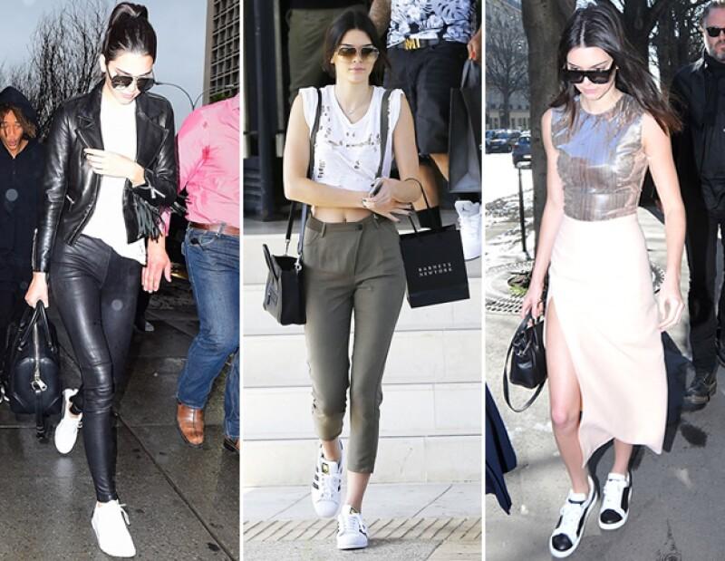 Kendall Jenner confía en sus sneakers para triunfar en sus looks de streetsyle.
