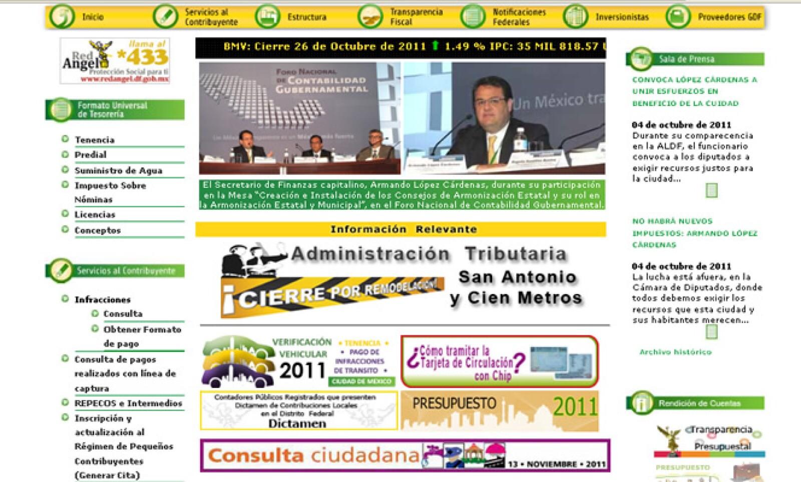 A través de su sitio electrónico, la Secretaría de Finanzas del GDF facilita los mecanismos de pago de contribuciones y da los servicios que se ofrecen en las distintas dependencias.