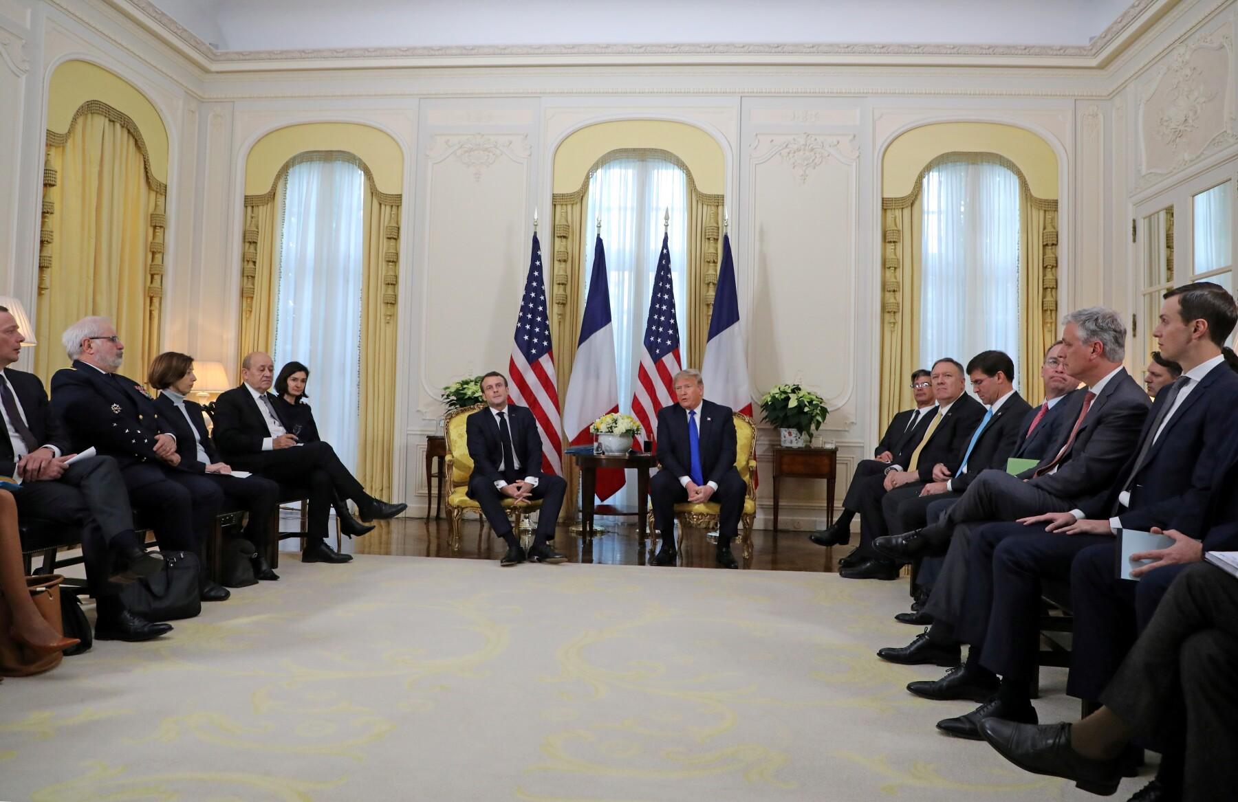 U.S. President Trump meets France's President Macron, ahead of the NATO summit, in London