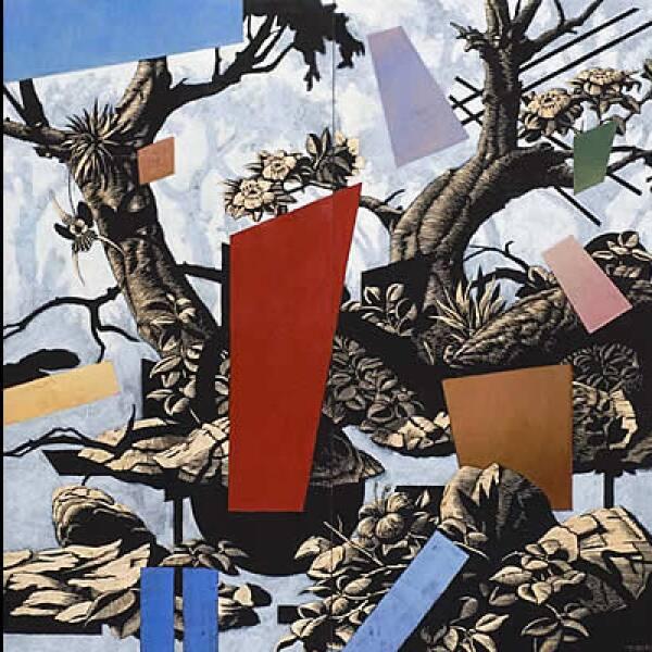 El artista mexicano Patrick Pettersson Becerra presenta esta creación en óleo y grabado sobre madera de 160 x 160 cm, la cual recibió mención honorífica en la VIII Bienal Monterrey FEMSA.