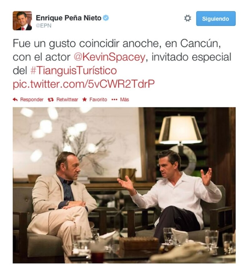 Enrique Peña Nieto también compartió una foto con el actor.
