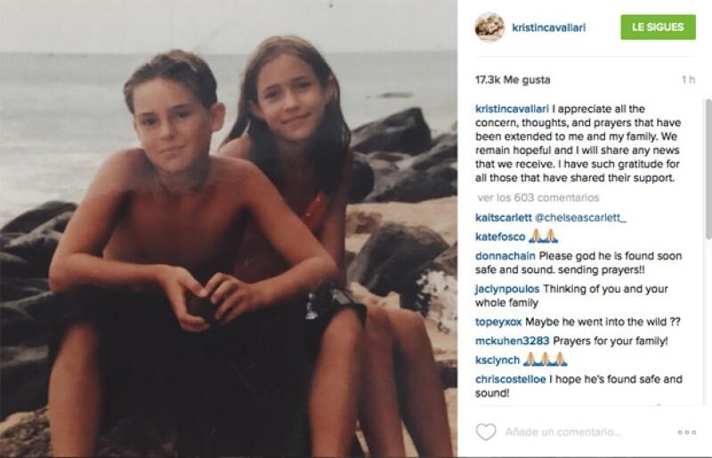 Kristin publicó un mensaje en Instagram agradeciendo la preocupación de la gente por su hermano.