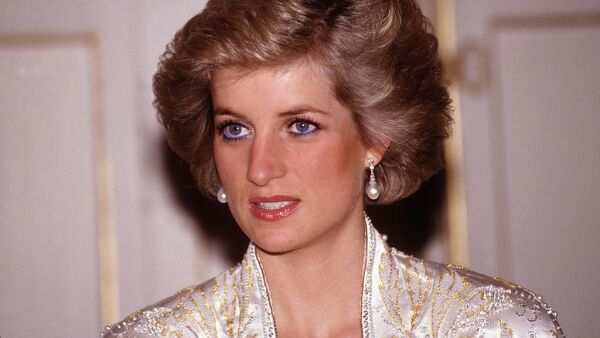 Diana Princess of Wales at a dinner given by President Mitterand at the Elysee Palace in Paris