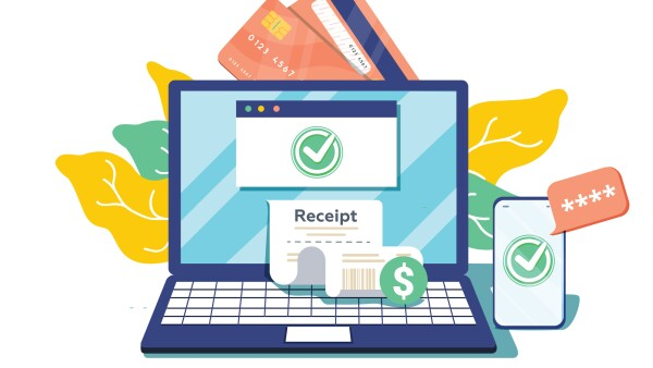 Notification on financial transaction. Laptop with electronic receipt. Online payment confirmation via SMS. Vector