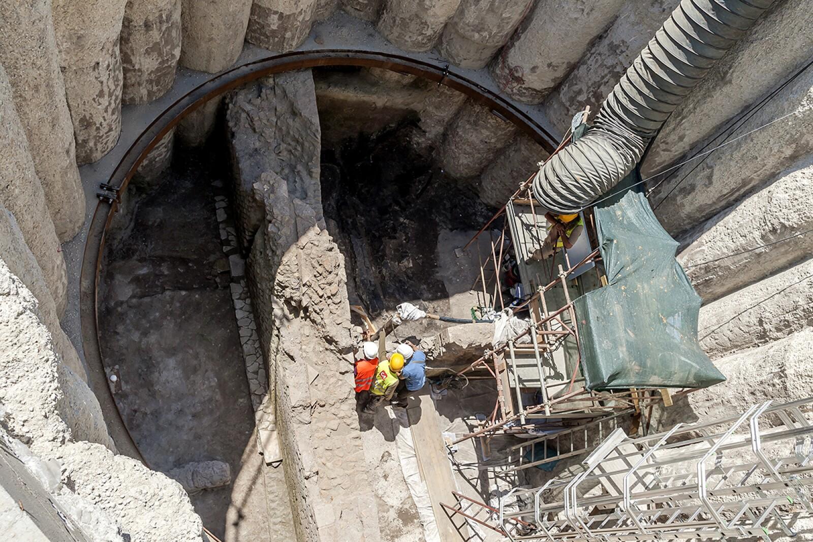 Ruinas encontradas en la excavación del Metro de Roma