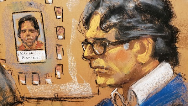 Sketch de Keith Reniere en su juicio