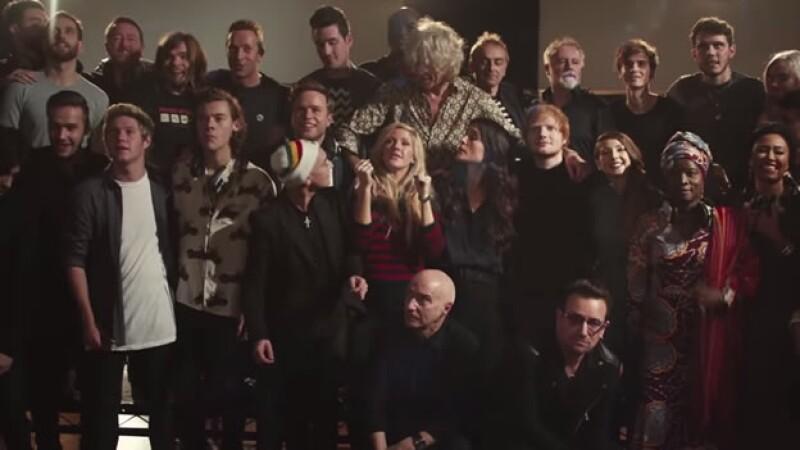 : Parte de los cantantes que se unieron para realizar una nueva versión de ?Do They Know it´s Christmas?, para combatir el ébola