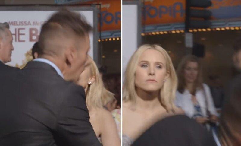 Después de hacerla enojar, Kristen le soltó una cachetada al reportero.