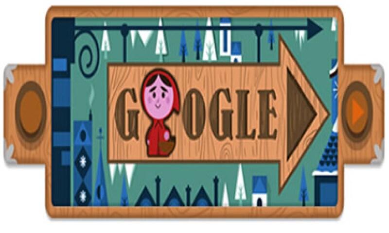 El doodle de Google muestra la historia de Caperucita roja, una niña que va visitar a su abuela pero es devorada por el lobo feroz. (Foto tomada de Google.com)
