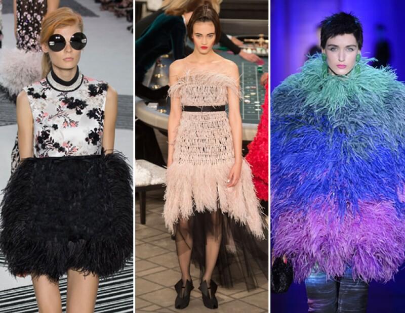 Las plumas le dan el volumen y la textura que las piezas necesitan para ser consideradas un statement. Para otoño-invierno se vieron vestidos con feathers en pasarelas como Giambattista Valli y Chanel o sacos como los de Armani Privé.