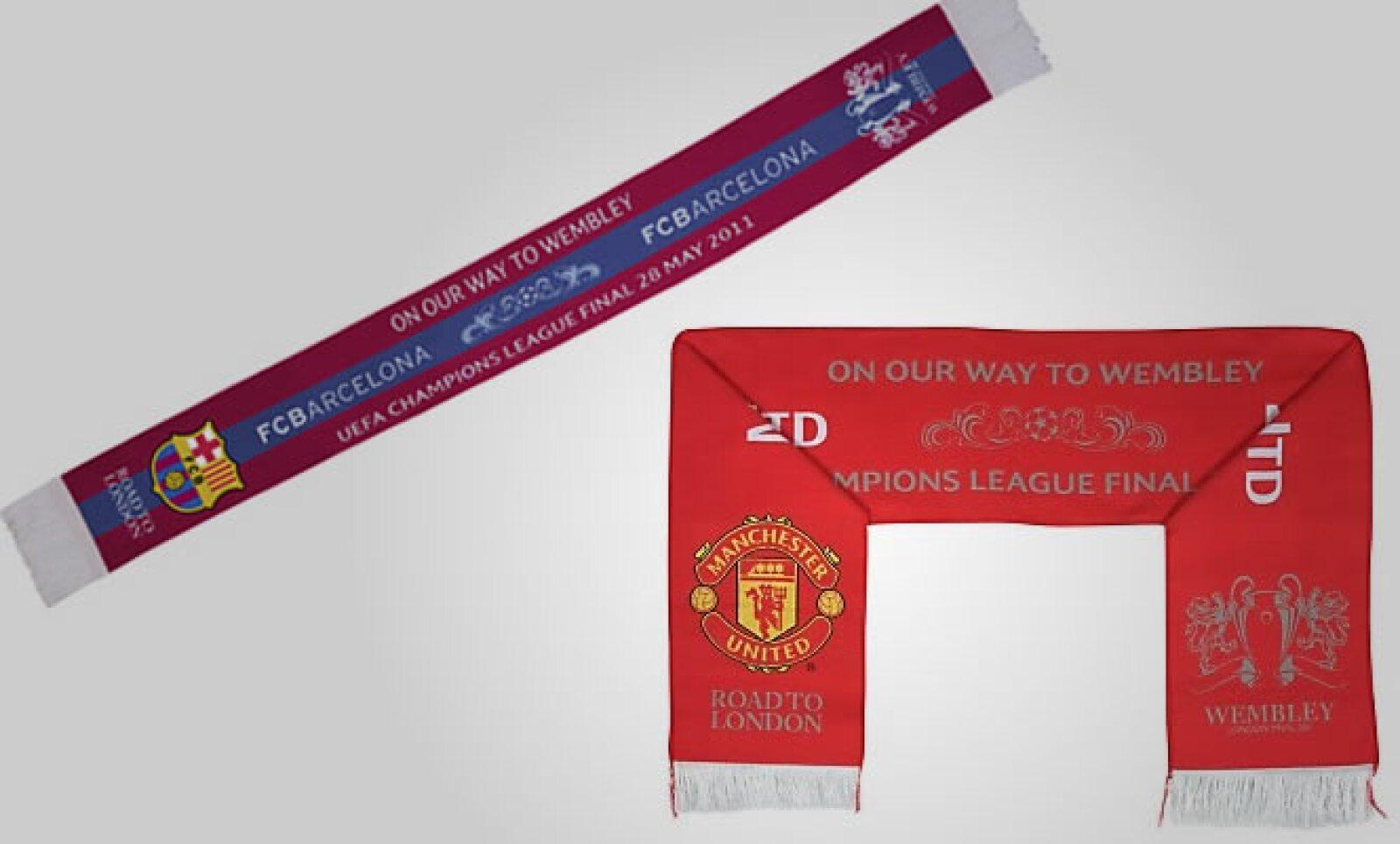Un verdadero fanático también debe portar una bufanda de su equipo favorito. Cada una tiene un costo de 7 libras, algo más de 135 pesos más envío.