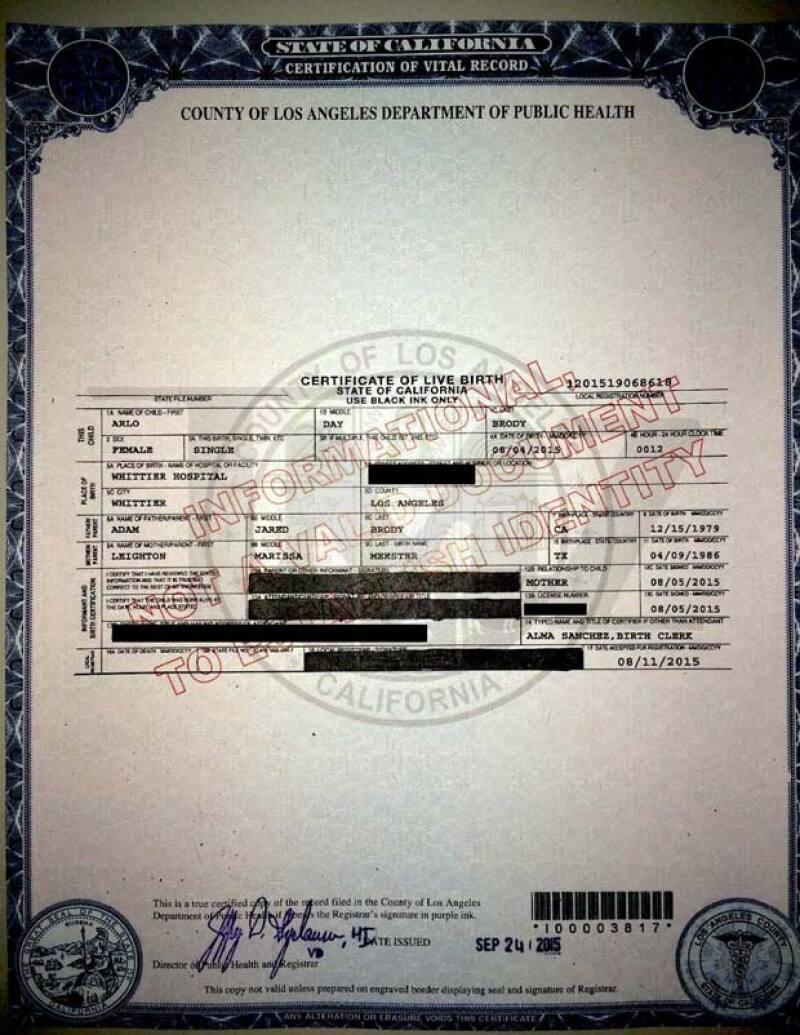 El documento fue obtenido por TMZ en donde se confrima la fecha de nacimiento de la bebé.