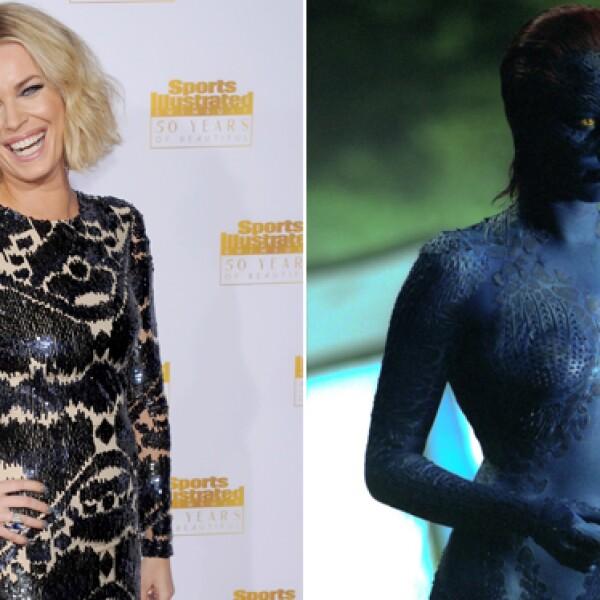 Rebecca Romijn pasa de ser una super sexy modelo a ser una mutante con aspecto de pez en cuestión de horas.