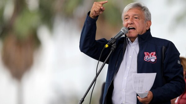 Mexico's President-elect Andres Manuel Lopez Obrador talks to supporters as he continues with his tour to thank supporters for his victory in the July 1 election in Monterrey,