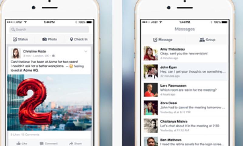 Facebook at Work permite a los usuarios intercambiar mensajes. (Foto: Tomada de itunes.apple.com)