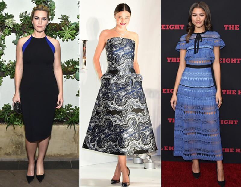 Kate Winslet, Miranda Kerr y Zendaya complementaron su look con piezas en negro.