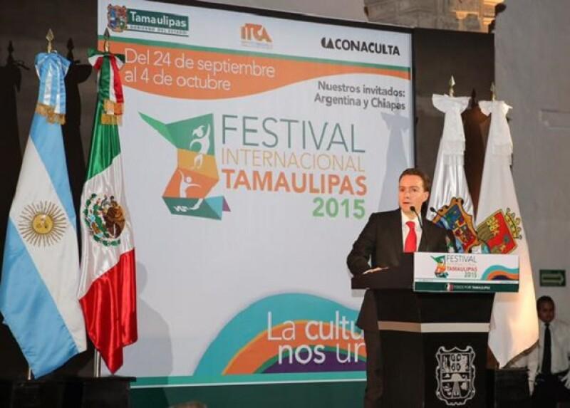 El gobernador de Chiapas expresó algunas palabras durante el evento de la FIT 2015.