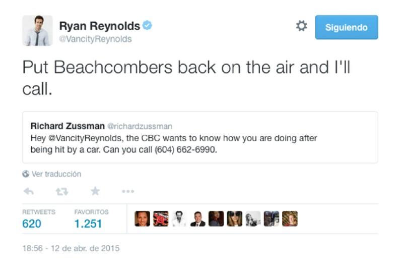 Ryan ha querido quitar importancia a su accidente bromeando sobre el tema en Twitter, después de que un reportero le escribiera para preguntarle cómo se encontraba