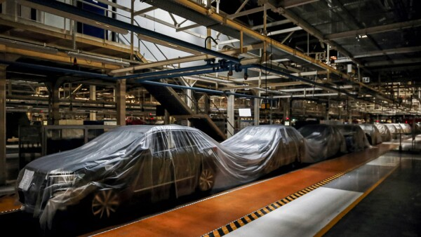 An empty assembly line is pictured at Autoeuropa Volkswagen car factory during partial lockdown as part of state of emergency to combat the coronavirus disease (COVID-19) outbreak in Lisbon