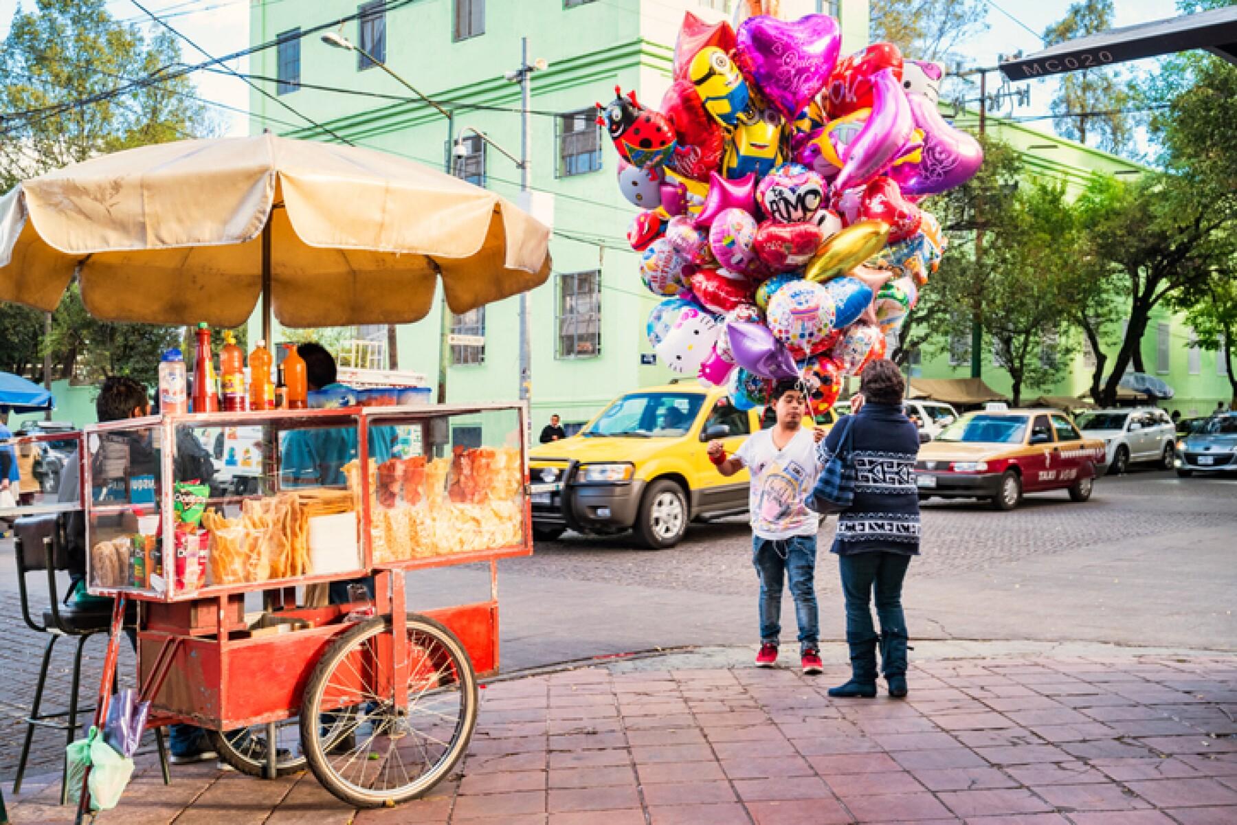 Vendors in the Coyoacan neighborhood of Mexico City