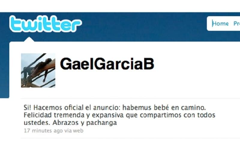 Gael García hizo oficial que él y su pareja están esperando bebé.