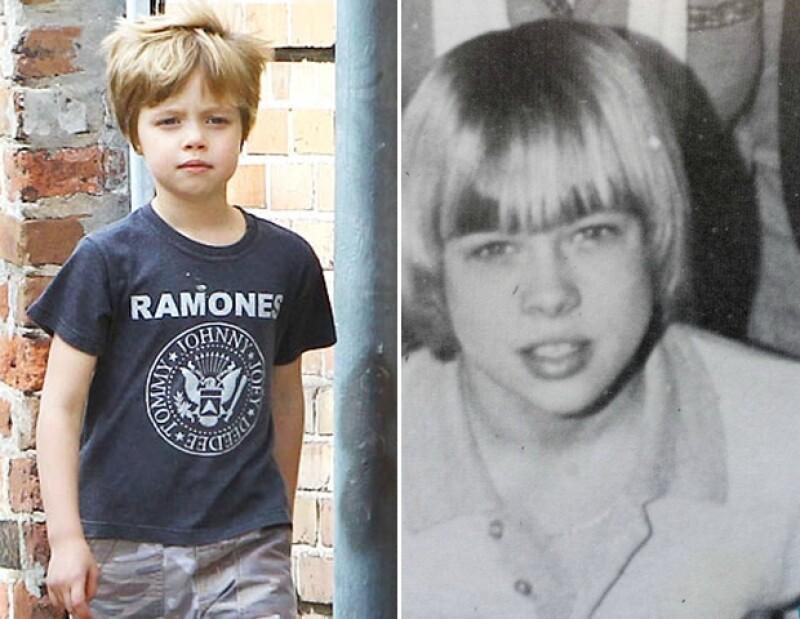 Shiloh Jolie-Pitt y Brad Pitt a los seis años de edad.