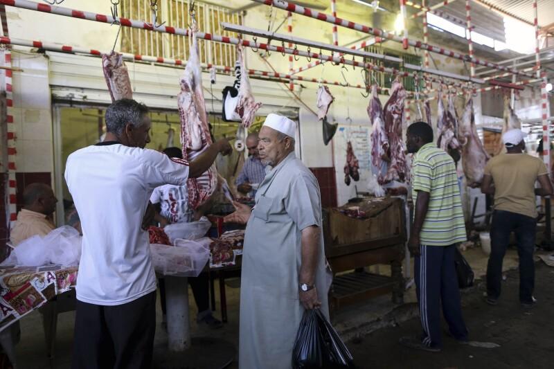 En el mercado.
