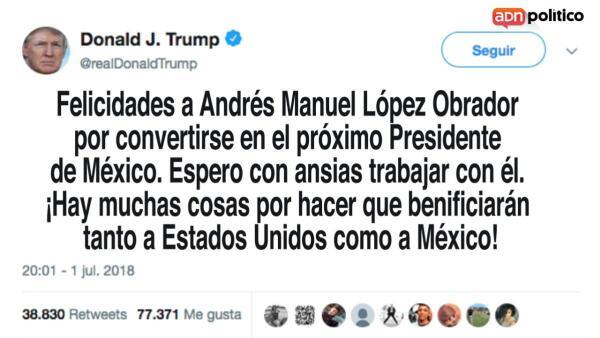 Trump, Maduro y otros mandatarios felicitan al nuevo presidente de México