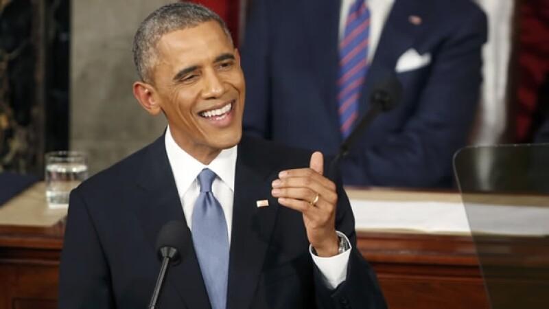 El presidente Barack Obama dando su mensaje este martes ante el Congreso de Estados Unidos