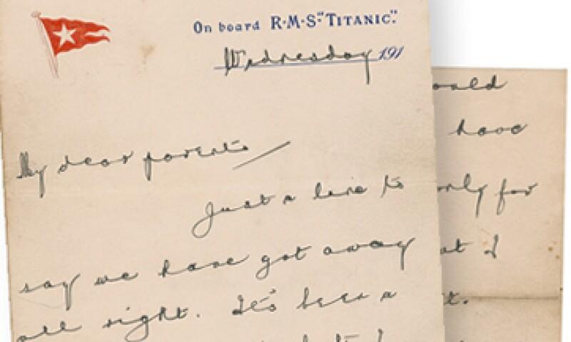 La carta fue escrita en un papel que llevaba el membrete White Star Line, la papelería del Titanic. (Foto: AP)