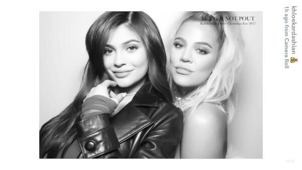 Kylie Jenner y Khloé Kardashian en la fiesta de Navidad 2017