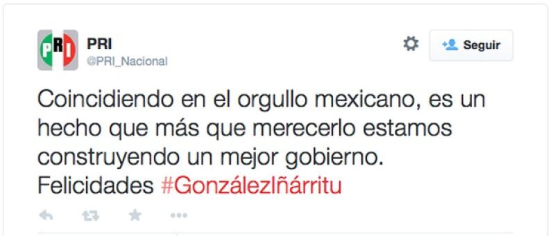 Este es el mensaje que el PRI emitió en Twitter.