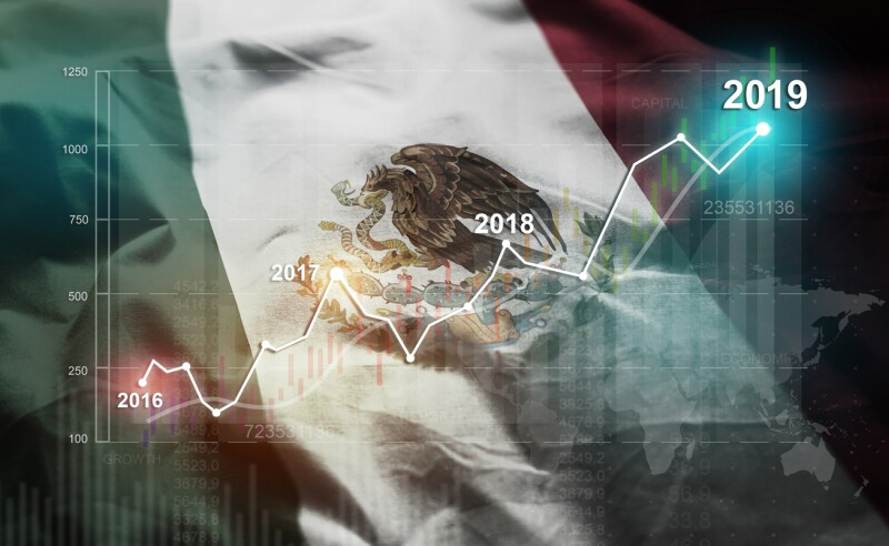 Growing Statistic Financial 2019 Against Mexico Flag