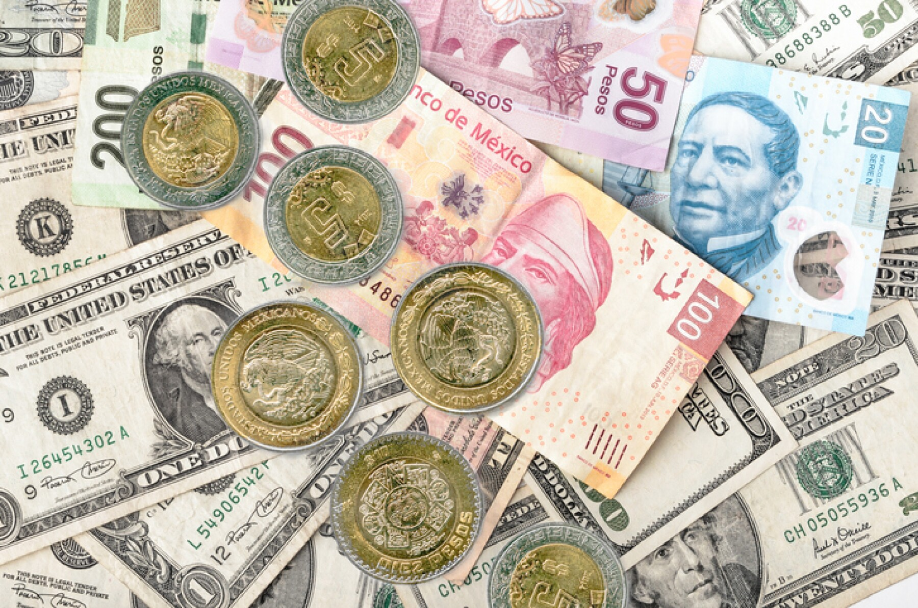 Dollar and Mexican Pesos