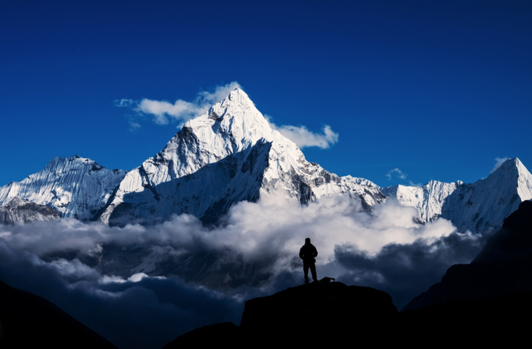 Man hiking silhouette in Mount Everest,Himalayan