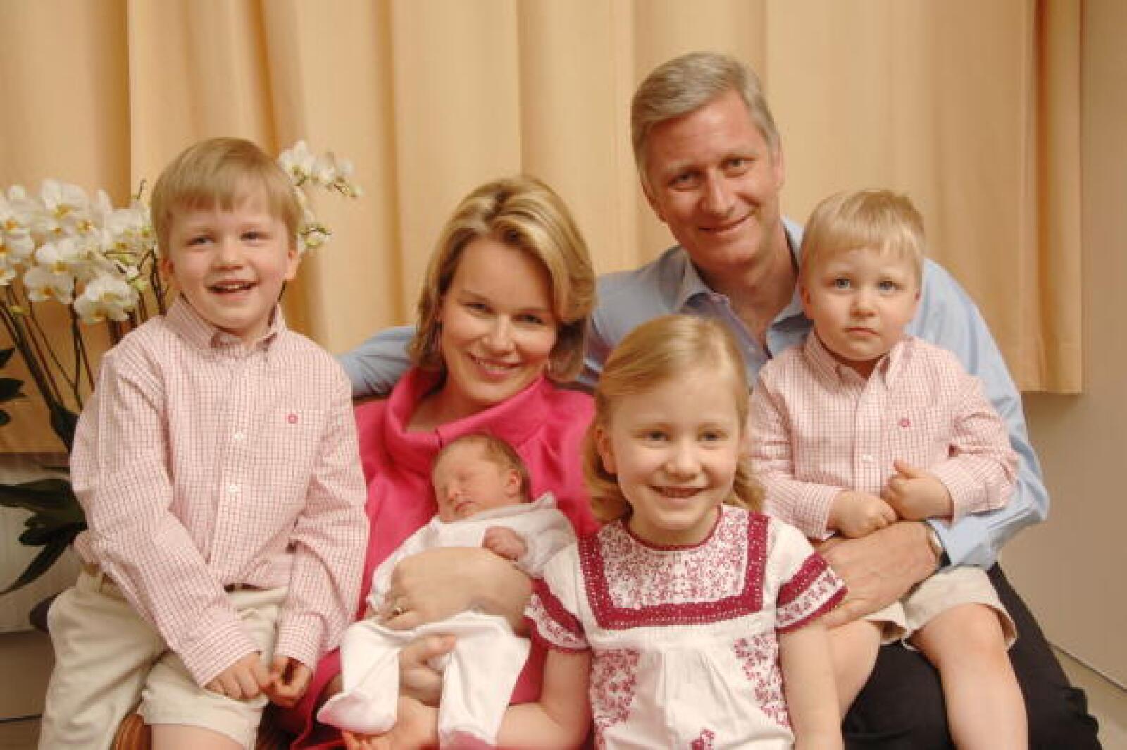 El Príncipe Felipe de Bélgica y su familia.