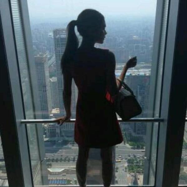 Su talento la ha llevado a los lugares más lejanos. La vista desde su hotel en Beijing.