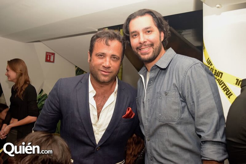 Roberto Slim y Jorge Echenique en la fiesta en honor a Mr. Brainwash