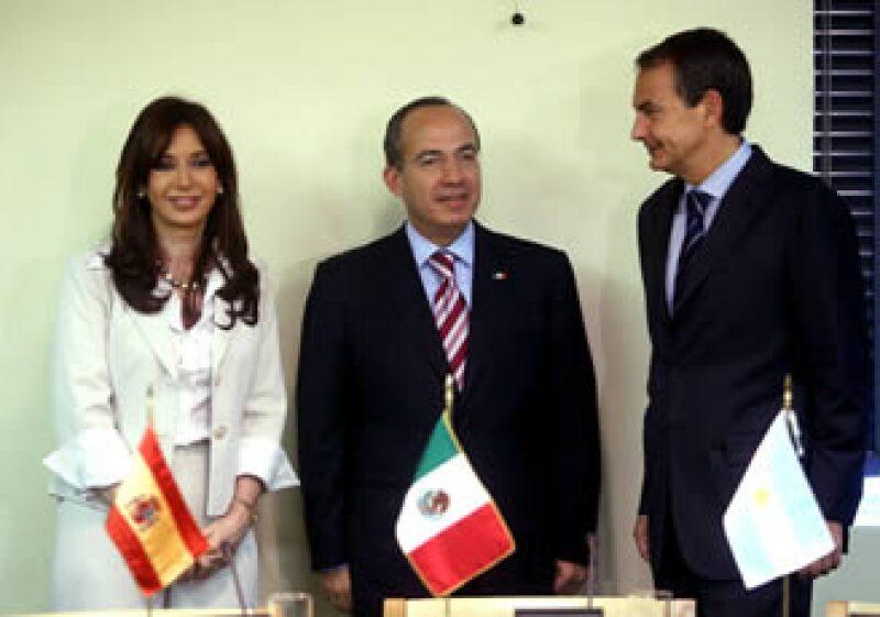 Antes de su discurso ante el Consejo de Seguridad de Naciones Unidas, Calderó se reunió con sus similares de Argentina, Cristina Fernández de Kichner; y España, José Luis Rodríguez Zapatero. (Foto: NTX)