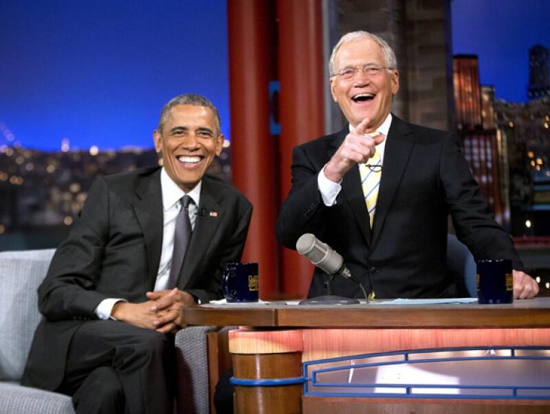 El presidente Barack Obama fue otro de los que acudieron a sus últimos programas como parte de su despedida.