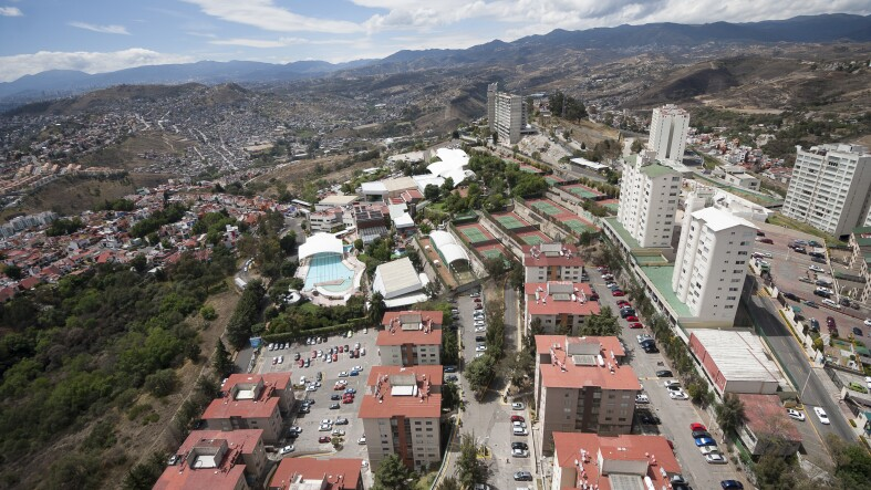 Aerial view of middle class urban living district