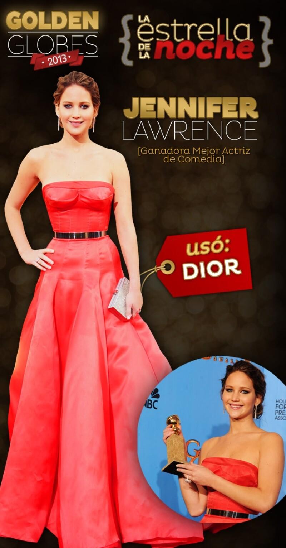 Además de ganar el premio a Mejor Actriz de Comedia por `Silver Linigs Playbook´, la actriz causó un `wow´ generalizado con su vestido Dior.