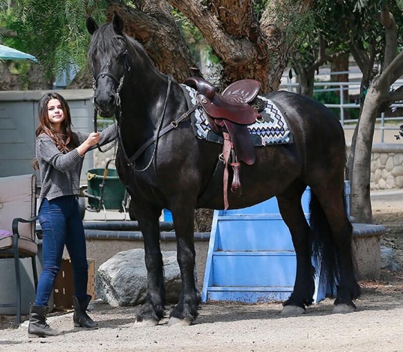 Selena lució jeans, botines y un top de punto en color gris.